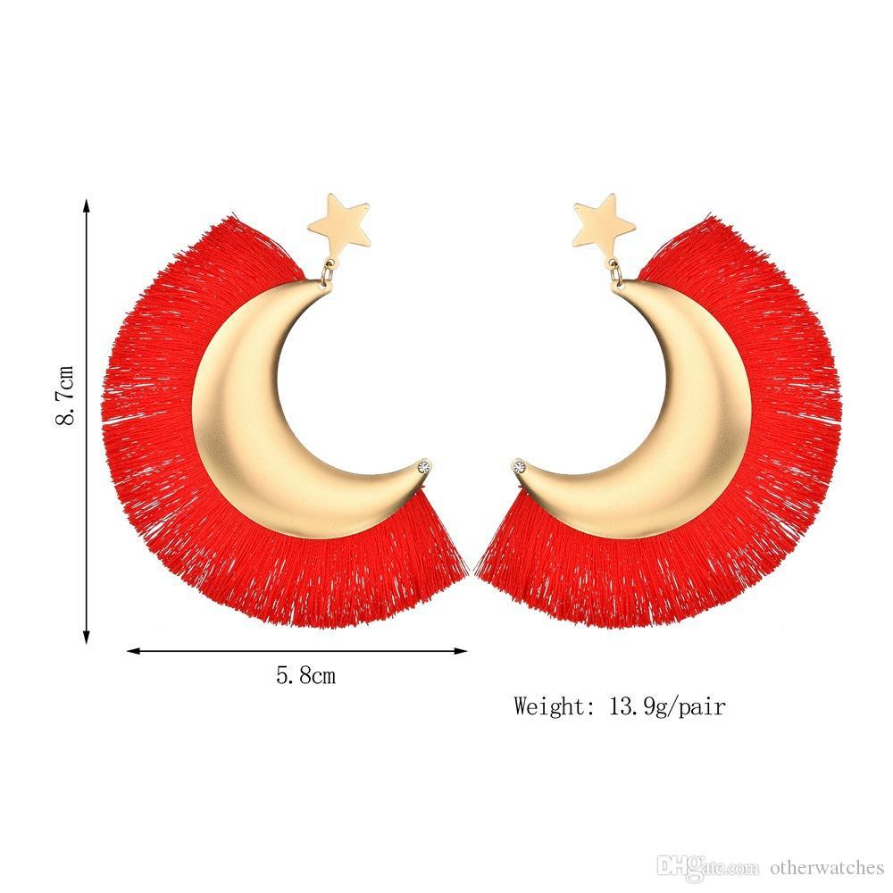 Преувеличенные Луна звезда бахромой уха шпильки серьги болтаться люстра