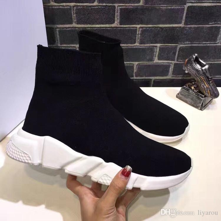 Black Celebrity Knit Sock Elastic Sneakers Boots Ankle Flat Slip On Winter Casual Fall Short Stretch Designer Shoes Women Luxury