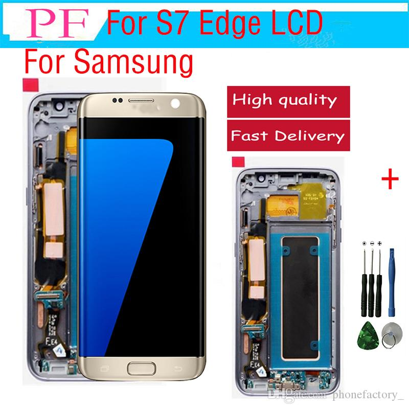 Samsung s7 edge için orijinal lcd lcd dokunmatik ekran + çerçeve g935a g935f g935p için sayısallaştırıcı ekran meclisi yedek parçalar dhl ücretsiz