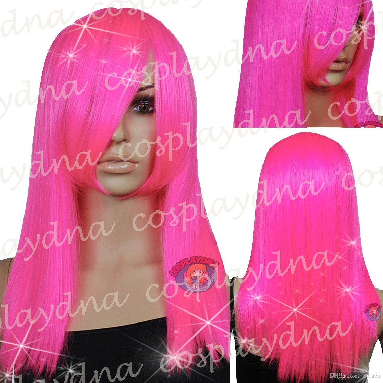 20 pulgadas Hi_Temp Series Hot Pink barbilla larga bang largo Cosplay ADN Pelucas 71RFH