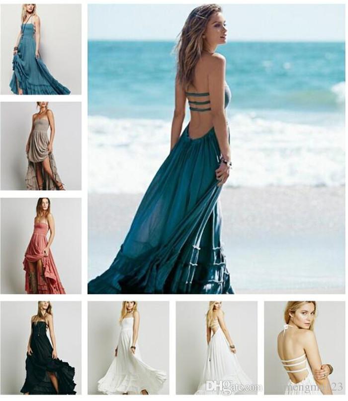Womens Plain Lace Maxi Dress Ladies Summer Beach Party Boho Holiday Long Dress