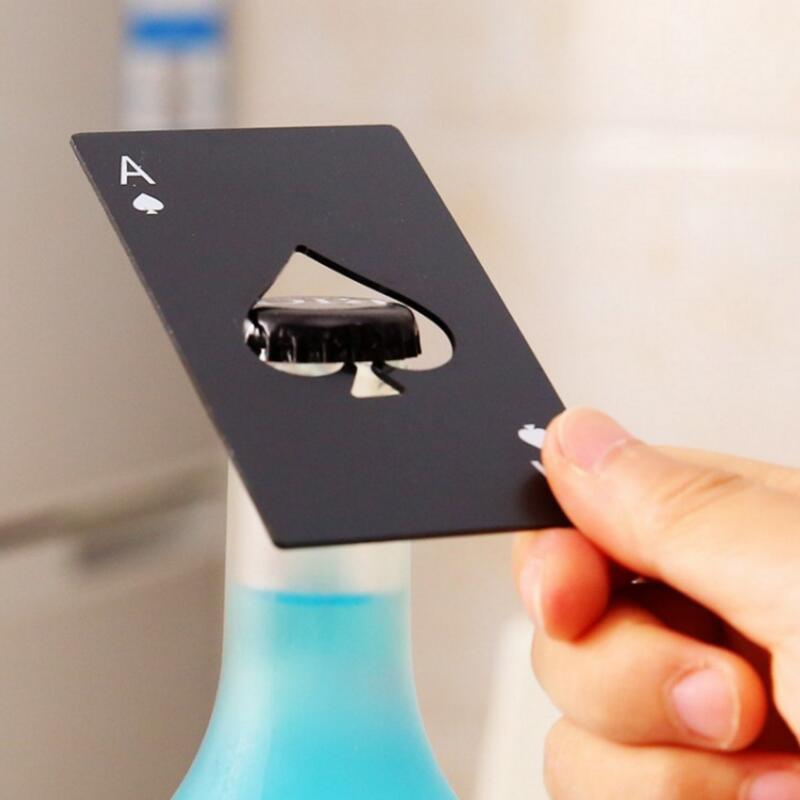 أسود / فضي بوكر بطاقة البستوني فتحت زجاجة البيرة شخصية الفولاذ المقاوم للصدأ فتاحة زجاجات بار أداة