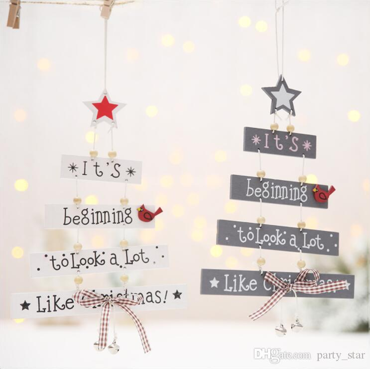 2 Style New Christmas Tree Letters Pendant Decorations Bar Club Christmas Party Creative Ornament Gray White