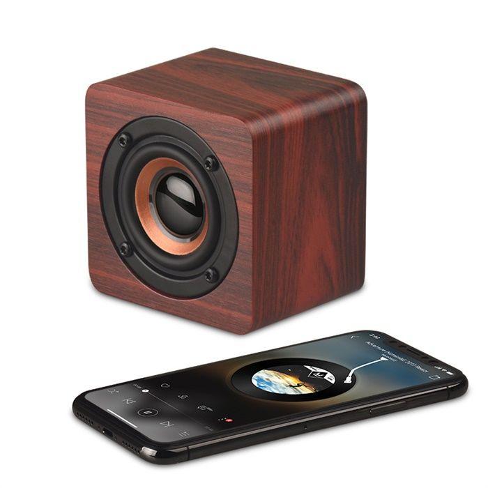 Mini Altavoz Bluetooth de madera Subwoofer inalámbrico portátil Caja de sonido Bass Bass Music Magic Cube Envío Gratis