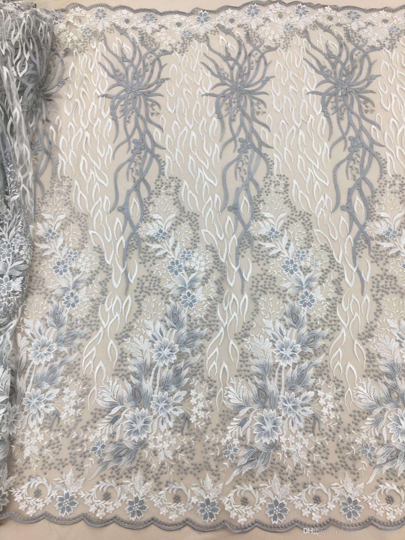 2018 nouveau style robe de mariage en dentelle tissu robes de mariée de haute qualité tissu broderie fleur dentelle Applique robe de soirée tulle dentelle tissu