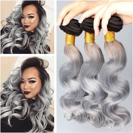 Virgin Peruana Plata Gris Ombre Paquetes de cabello humano Ofertas Raíz oscura Onda del cuerpo Ondulado 3Pcs 1B / Gris 2Tone Ombre Virgin Hair Weaves Extensions