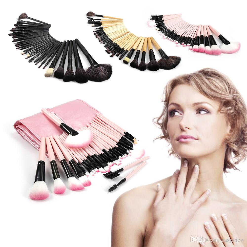 Gros 32 PCS Rose Bois Noir Maquillage Pinceaux Outils Ensemble avec Étui En Cuir PU Cosmétique Facial Maquillage Brosse Kit Gratuit DHL