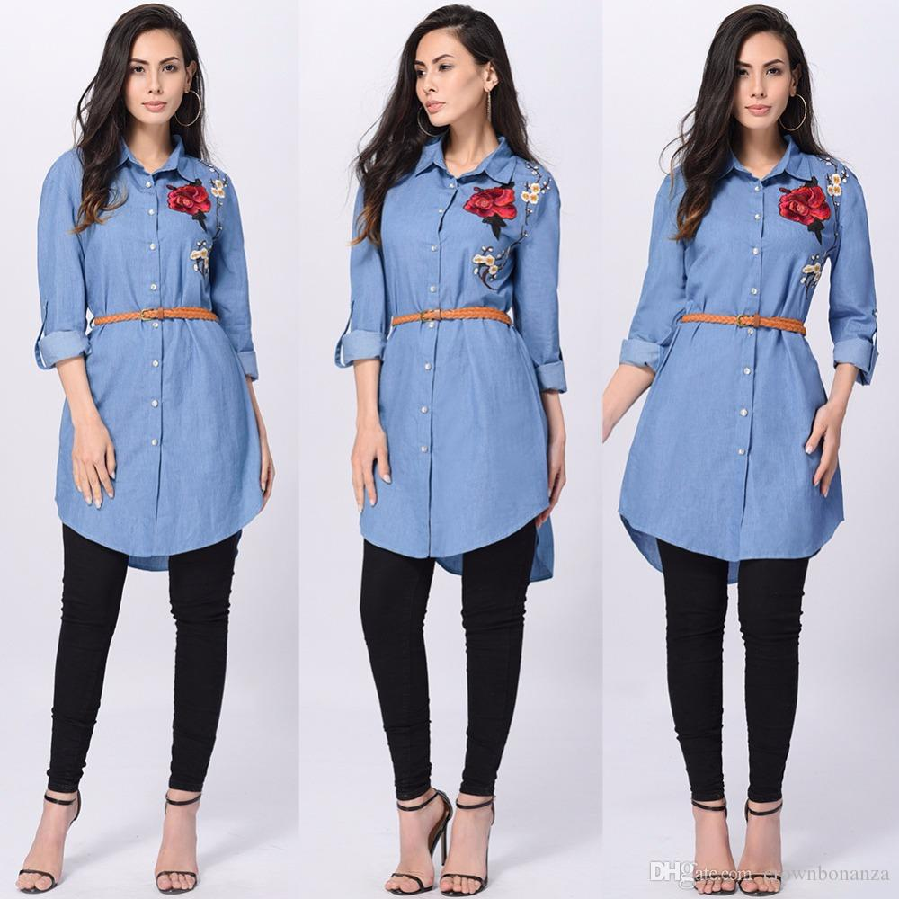 new photos picked up casual shoes Women Blue Denim Shirt Dress Casual Loose Long Sleeve Embroidery Flowers T  Shirt Dresses Sexy Mini Dress Ladies Jean Dresses Sleeved Dresses For ...
