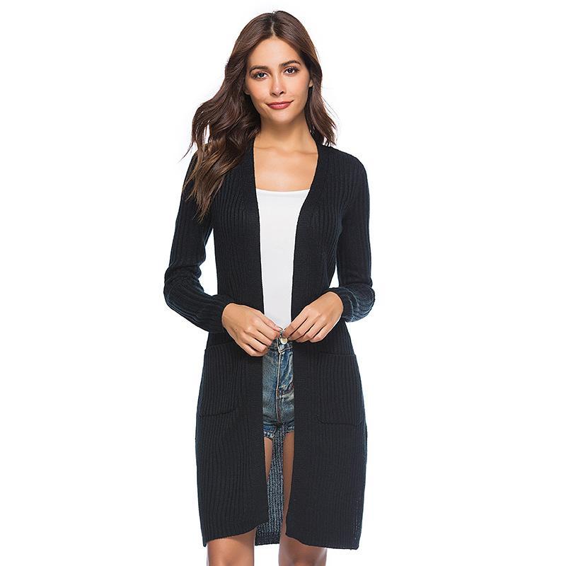 도매 Belted 긴 니트 카디건 코트 여성 가을 겨울 새로운 유럽 스타일의 긴 소매 스웨터 코트 니트웨어 의상