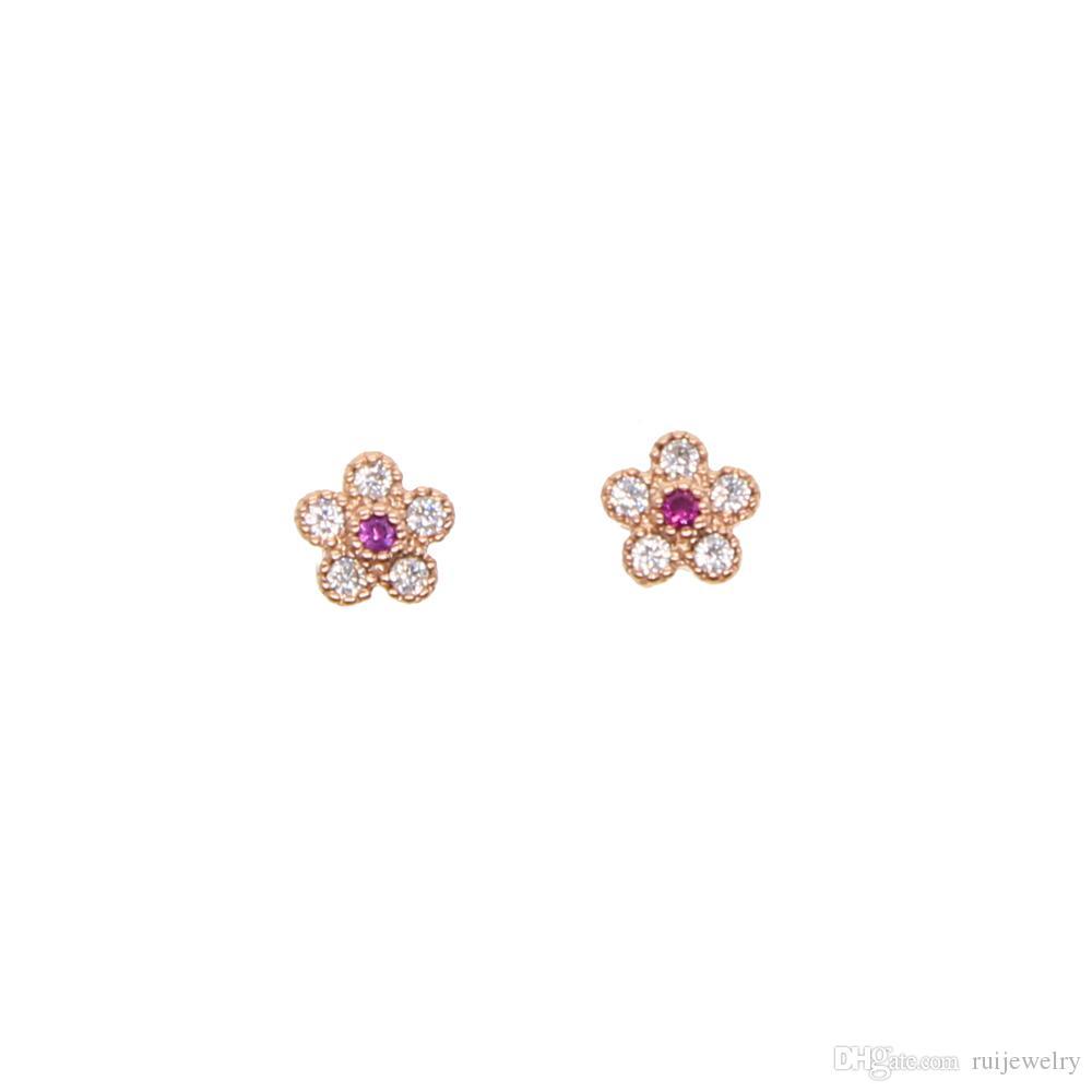 Cute tiny cz flower stud earrings 2018 summer pink flower bud Cubic Zircon Crystal Five Petals Elegant Stud Earrings for Women