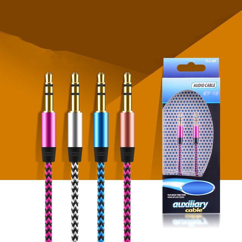 Aux trenza AUX AUX Cable de audio 3.5mm Macho a Masculino Estéreo Cable de Audio Alambre 1m 3 pies Cable Cable Cable