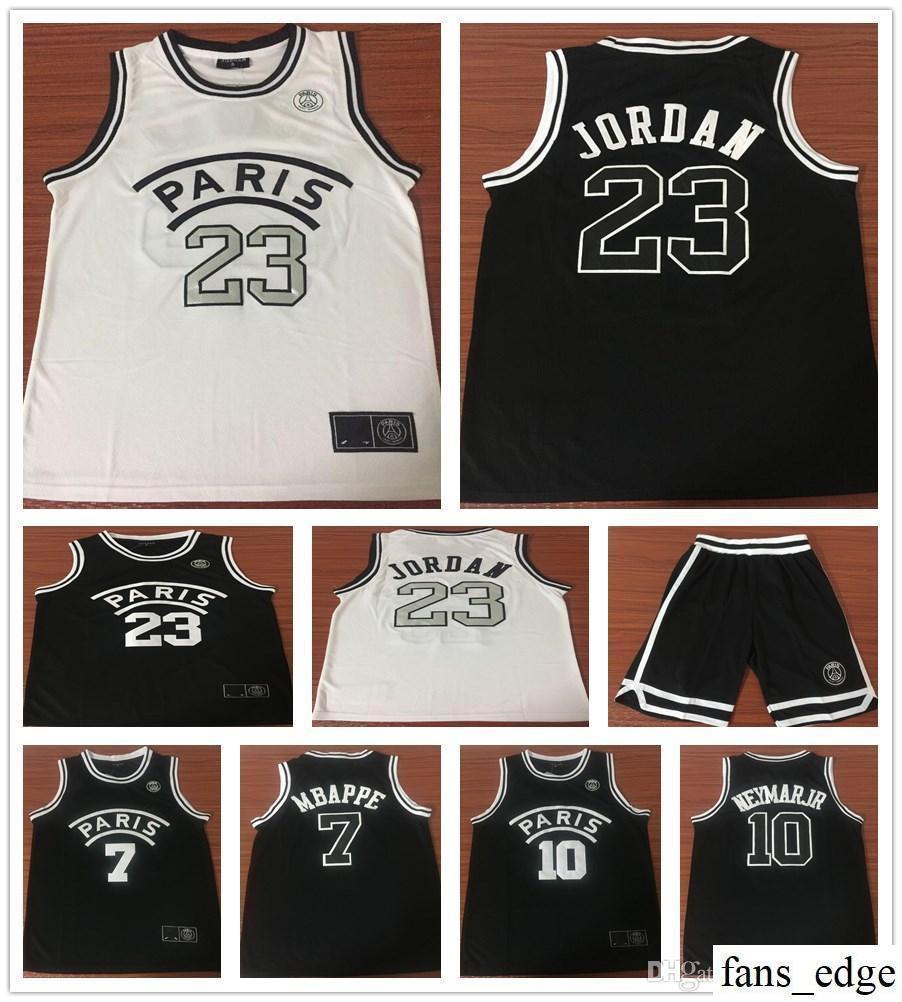 a3459ce5450 Stitched 2019 New AJ PSG Paris Basketball Jerseys 23 Michael JD 10 NEYMA JR  7 MBAPPE Paris Jersey Black White Color Shirt