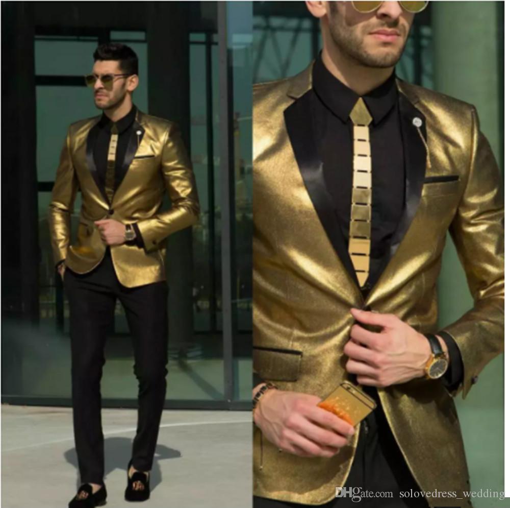 Solove 018 New Gold Wedding Men Suit Tuxedos Dos piezas Slim Fit Bridgroom One Button Suit