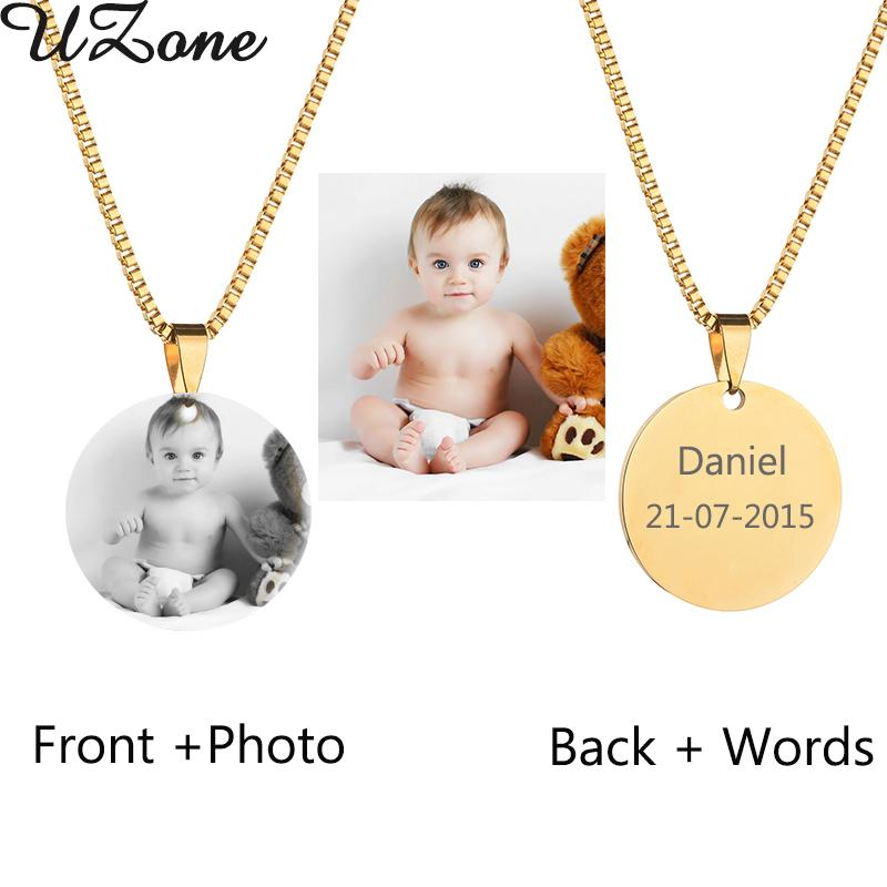 Custom Engraved Blank Necklace Personalized Photo & Name Necklace Can Drop Shipping