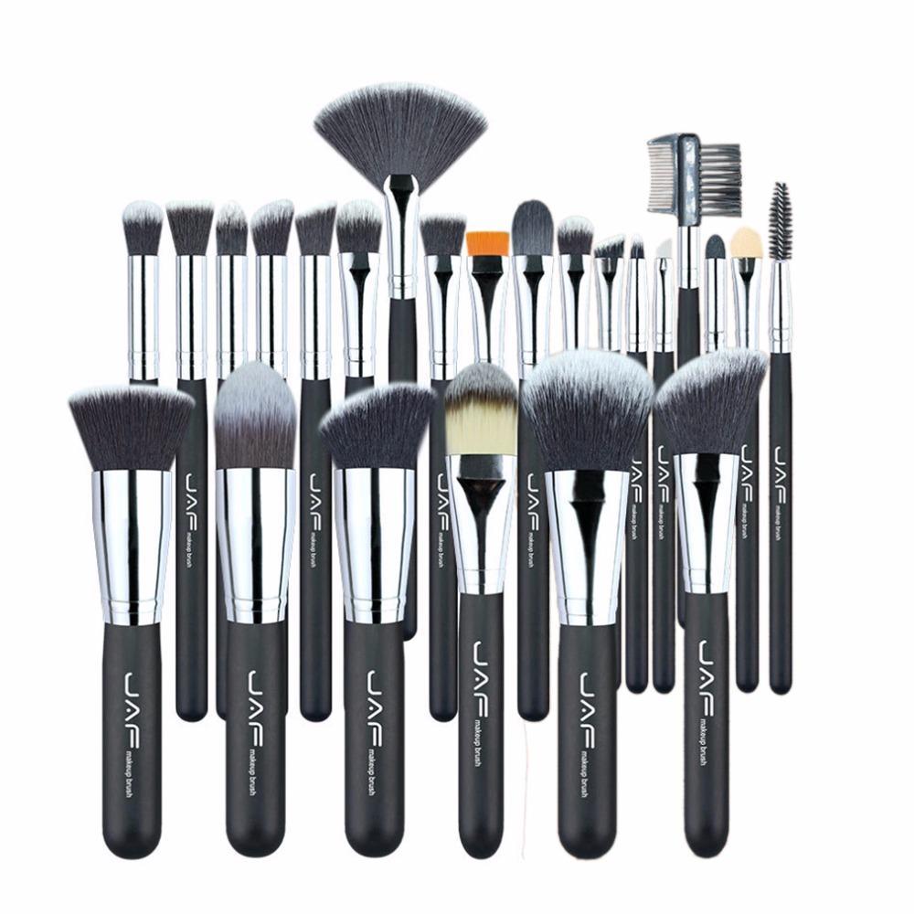 JAF Maquillage professionnel Pinceaux Kit lèvres Fond de teint poudre fard à joues Ombre à paupières Cils Pinceau outil 24pcs / set