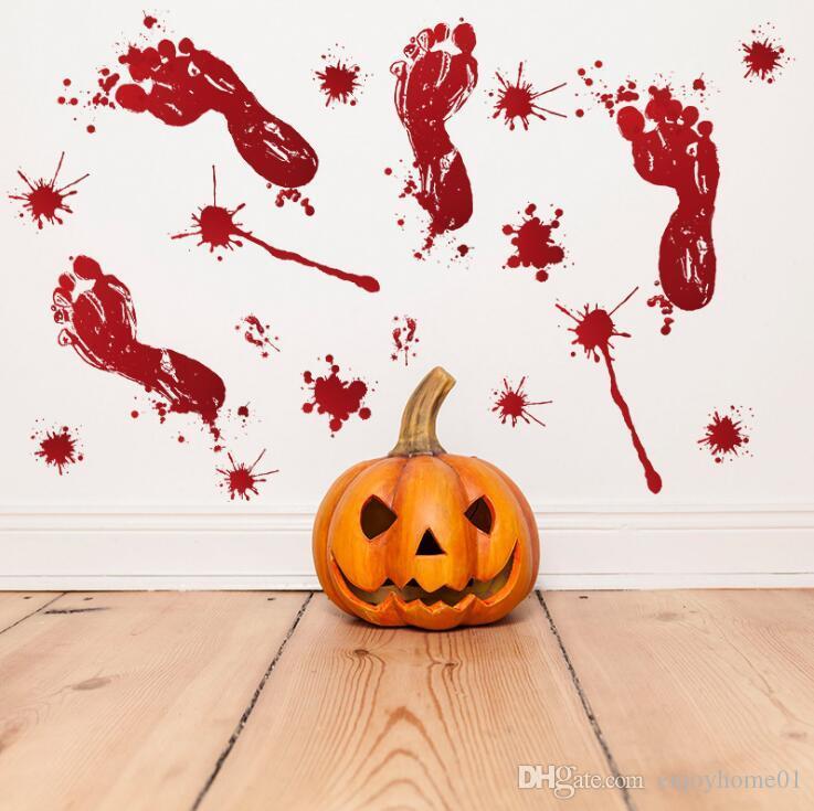 Декор стен комнаты украшения стены стикер Хэллоуин двери вставить окно стекло украшения след крови ручной печати стикер Хэллоуин поставки