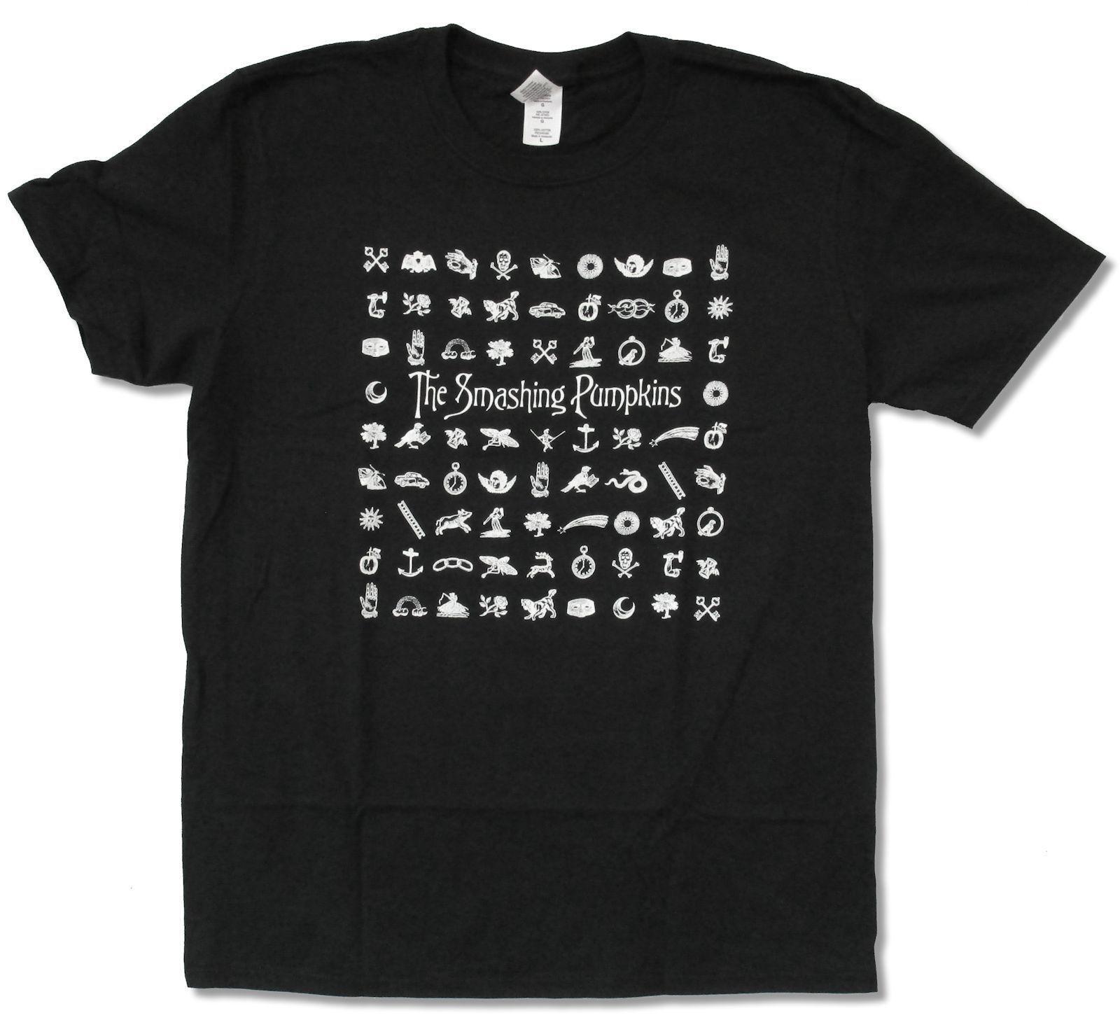 """Smashing Kabaklar """"Semboller"""" Siyah T-shirt Yeni Resmi Yetişkin Band Müzik Yüksek Kalite Erkekler T Shirt Üst Tee Gençlik"""
