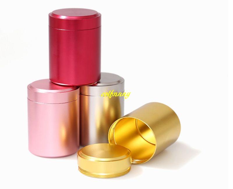 100pcs/lot 6.5x4.5cm Mini Teabox Titanium alloy Tea Caddies box For Travel Outdoor Sealed Jar Cans 8g tea Tin storage boxes
