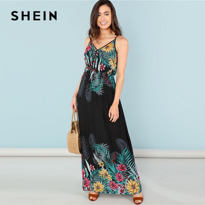 SHEIN Multicolor Férias Bohemian Beach Flower Imprimir Envoltório Frontal Cami Cintura Alta Maxi Vestido de Verão Mulheres Weekend Casual Vestidos