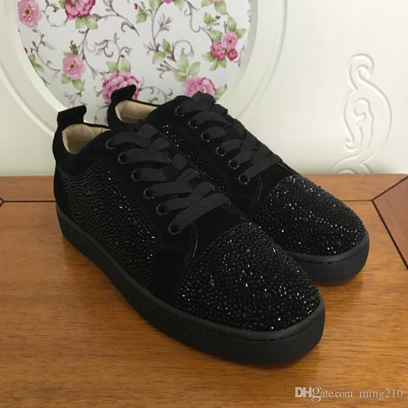 Tasarımcı Ayakkabı Tasarımcısı Sneakers düşük kesim Spike Flats ayakkabı Kırmızı Alt Erkekler ve Kadınlar Için Deri Sneakers Parti ...