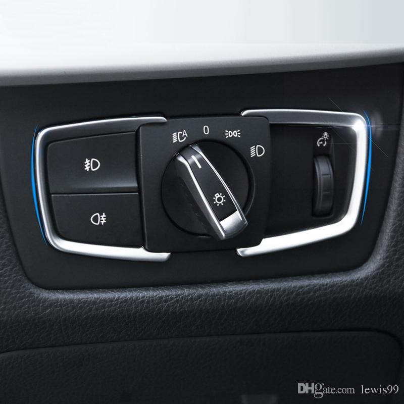 Araba styling Far Anahtarı Düğmeleri Dekoratif Çerçeve Kapak Trim Sticker Için BMW 1 2 3 4 Serisi X5 X6 3GT F30 F31 F32 F34 F15 F16 316i