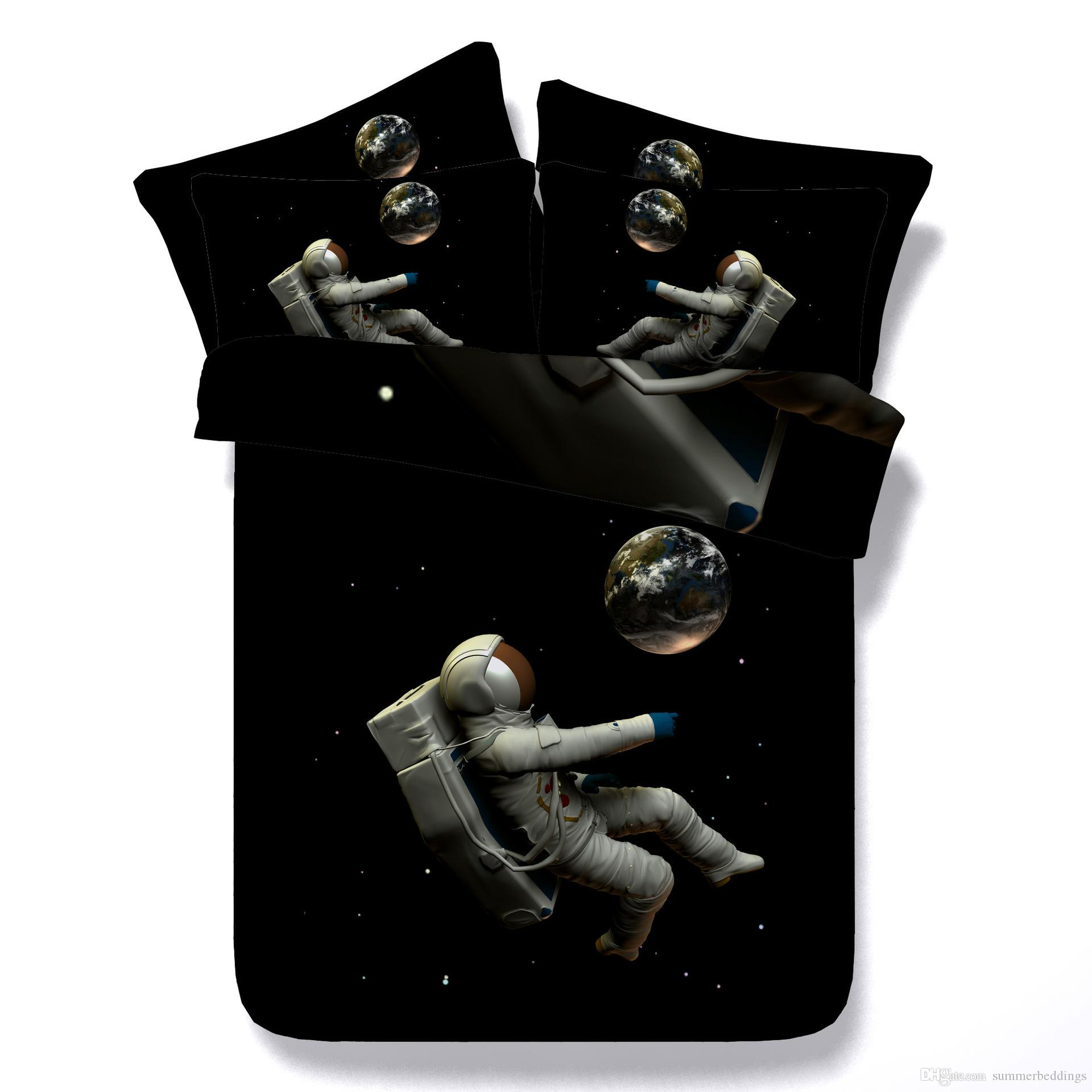 3D Astronaut Duvet Cover bedding sets universe Bedspreads Holiday Quilt Covers Bed Linen Pillow Covers moon comforter cover pillow shams