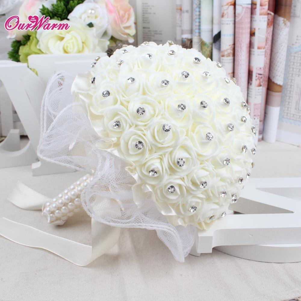 Букет цветов Букет невесты Пена Розы Искусственные цветы Роскошные стразы Свадебные украшения Букет ручной работы Шелковая лента Цветы
