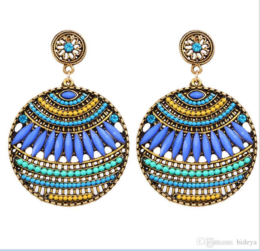 رومانسية بوهيميا أقراط للنساء مجوهرات 2018 أزياء ملونة نمط الصيد الأذن الأزرار خمر بوهو accesorries