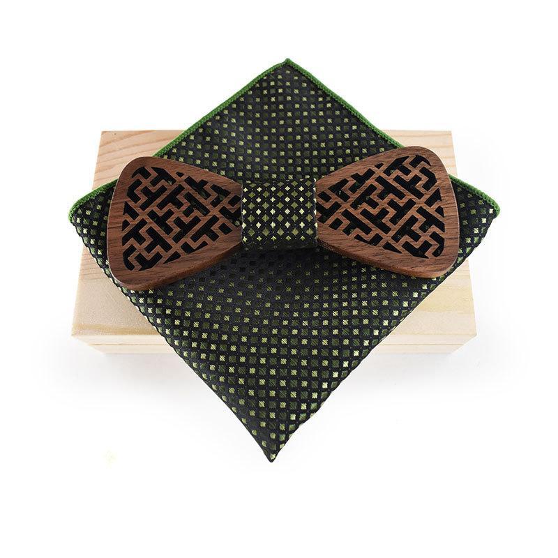 оптовая продажа дерева галстук-бабочка для мужской платок из полиэстера карманный квадрат для свадьбы ну вечеринку бизнес деревянный подарок галстук-бабочка