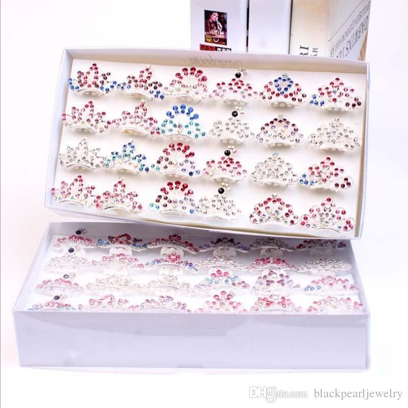 240 stücke 4 cm prinzessin mini crown tiara pin mit box pink kristall mädchen haarschmuck blume mädchen party haarschmuck