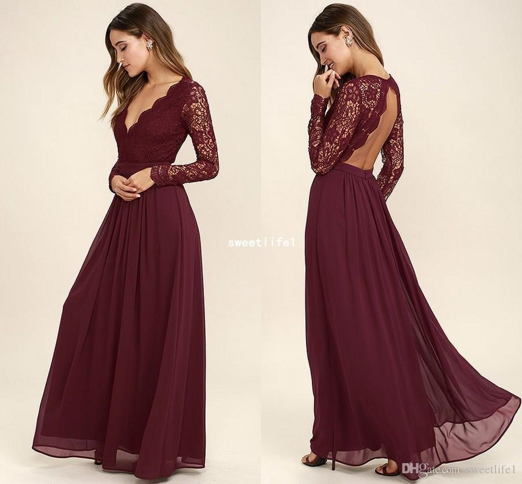 10 Burgundy Long Sleeve Bridesmaid Dresses Lace Chiffon A Line