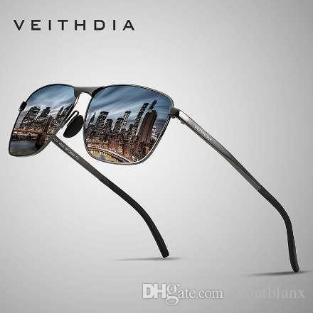 VEITHDIA marca hombres Vintage Square gafas de sol polarizadas UV400 gafas accesorios gafas de sol masculinas para hombres / mujeres V2462