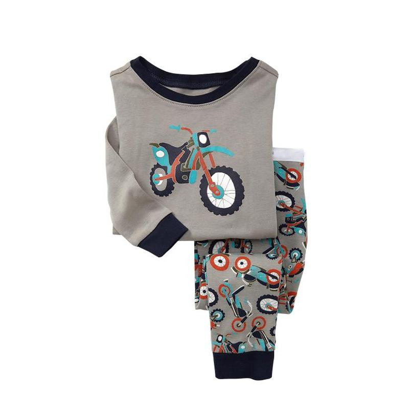 2017 New Long Sleeve Kids Pajamas Sets Grey With Motorcycle Sleepwear For Boys Cotton Boys Pyjamas Sets Nightwear Suit For 2T-7T
