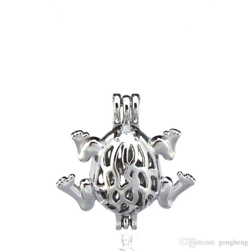 10 pcs / lot Alliage D'argent Mignon 27mm Grenouille Animal Huîtres Perles Cage Médaillon Pendentif Aromathérapie Parfum Huiles Essentielles Diffuseur