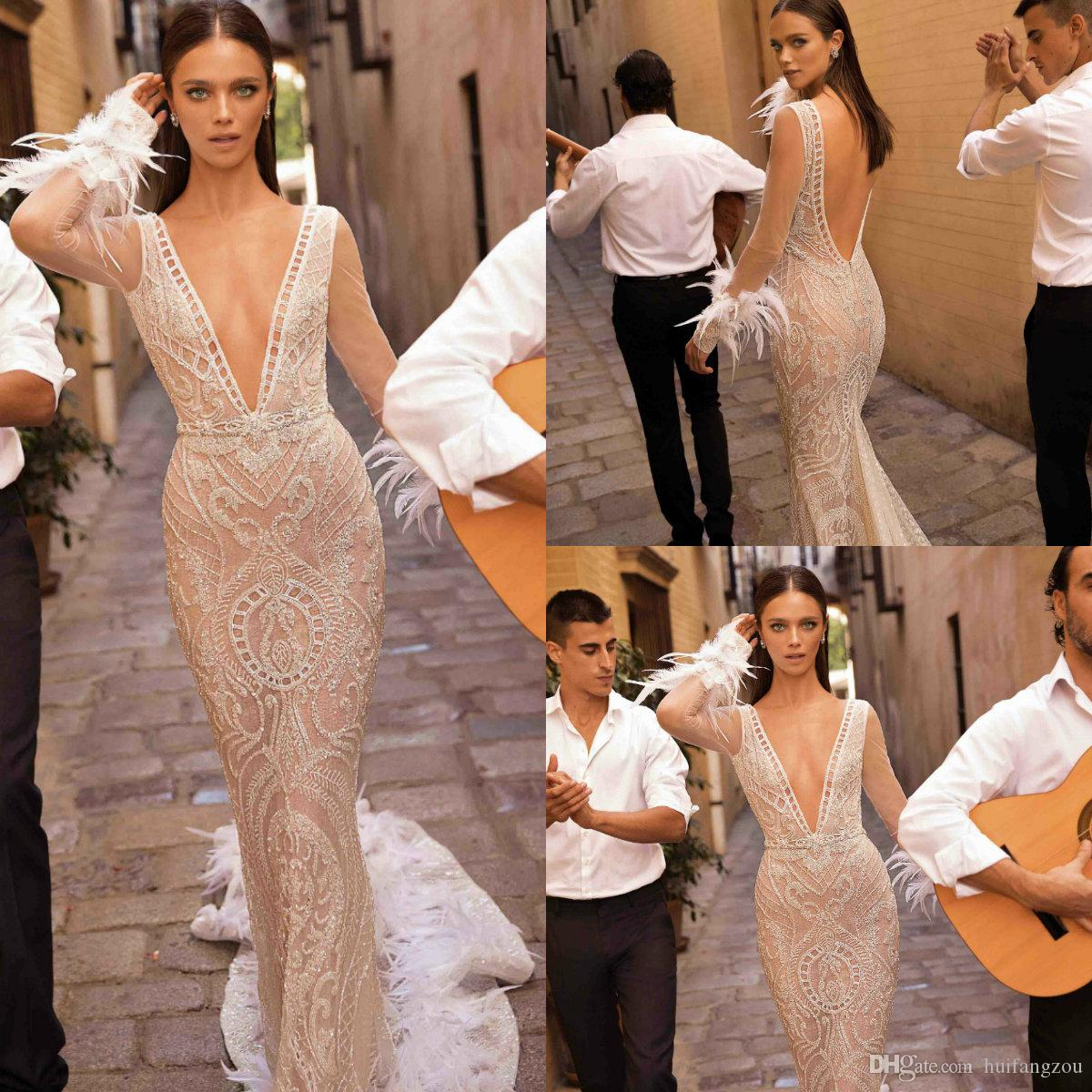 Luxury Mermaid Wedding Dresses Berta 2019 Illusion Deep V Neck Lace Long Sleeves Wedding Dress With Feathers Design Backless Bridal Gowns