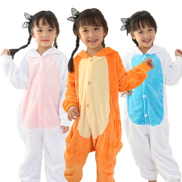 아이를위한 핫 플란넬 Unisex Pajama 팬더 카우 펭귄 코스프레 만화 Sleepwear 크리스마스 동물 onesies 잠옷 후드 원피스 파자마