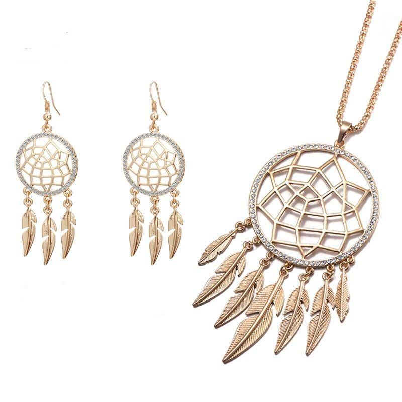 Long Tassel Leaf Feather Necklace Earring Set Hollow Jewelry Dream Catcher Pendant Necklace Earring for Women