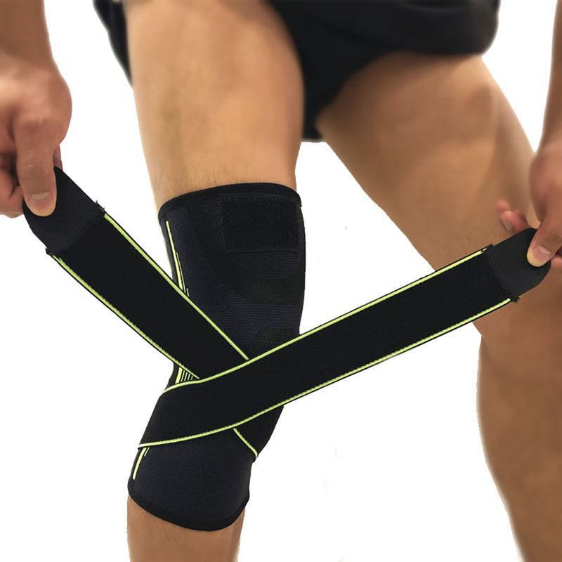 Genouillère comprimée S M L double enroulement bande basket-ball genouillères sans glissière élastique de sécurité adulte protège-genou