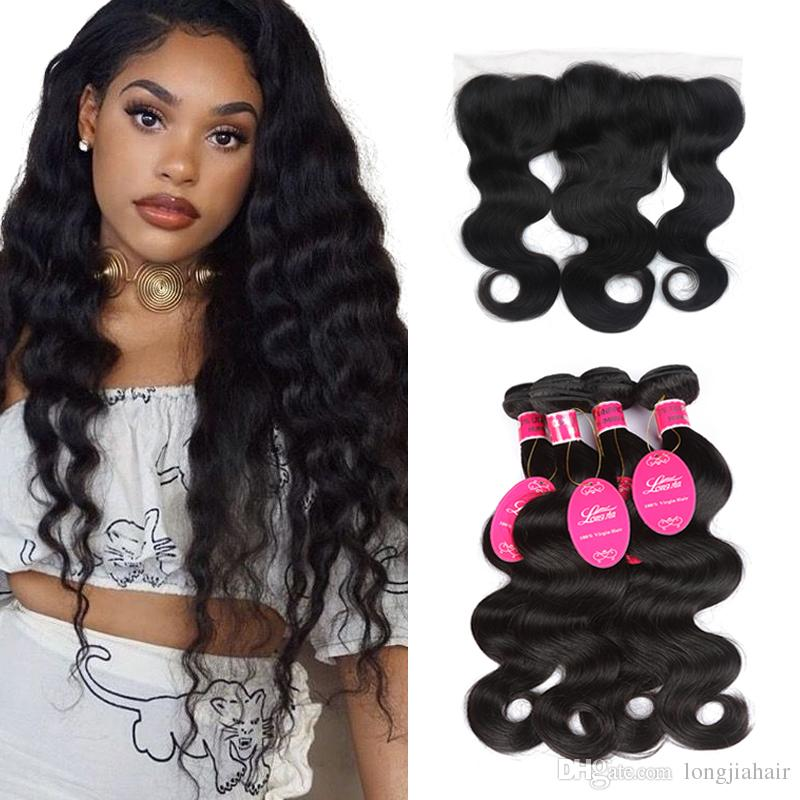 8A Brazilian Body Wave Human Hair Bundles With Lace Frontal Body Wave with 13x4 Frontal Unprocessed Cheap Brazilian Virgin Hair Extensions