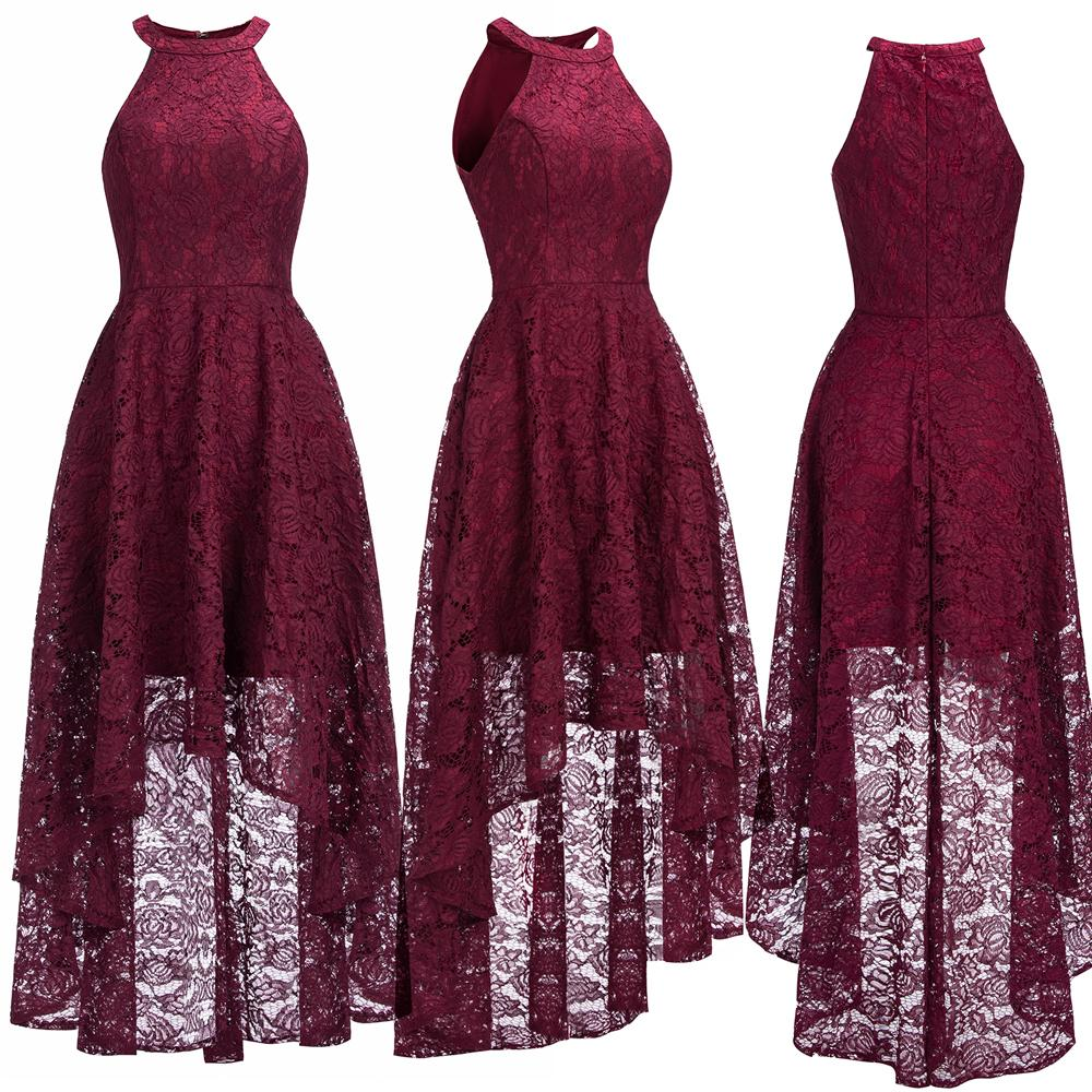 Christmas Evening Dresses.Sexy Halter Cheap Burgundy Lace Evening Dresses Halter Sleeveless High Low Designer Formal Occasion Wear Christmas Party Gown Cps1151 Designer Prom