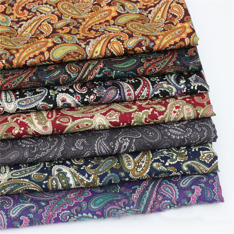 Metro de algodão popeline tecido para camisa de vestido do vintage paisley material de costura patchwork marrom vermelho preto roxo tecido paisley retro