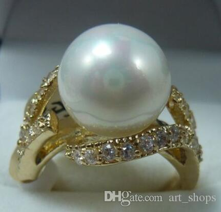 Pretty 18KGP 12MM White Shell Pearl Women' s Ring size 7#8#9#