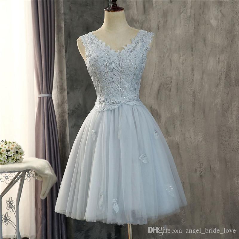 2018 Ucuz Moda V Yaka Aplikler Kristal Mini Homecoming Elbise Ile Tül Kızlar Için Juniors Mezuniyet Parti Balo Örgün Kıyafeti BH10