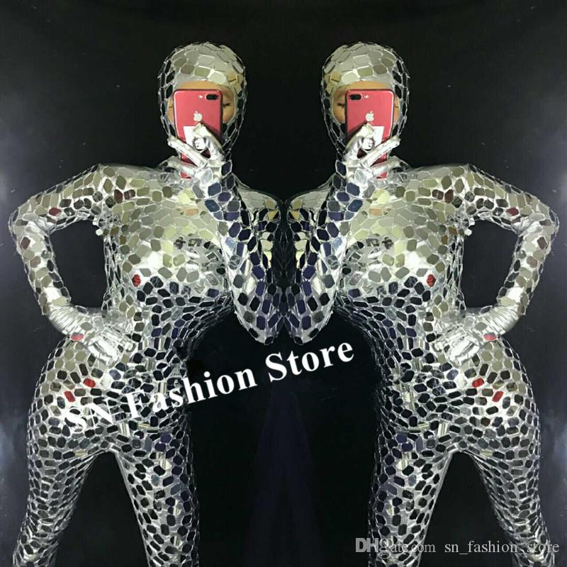 R29 Silver mirror female bodysuit dj stage performance wears outfits bar jumpsuit tight robot women ballroom dance costumes club dresses dj