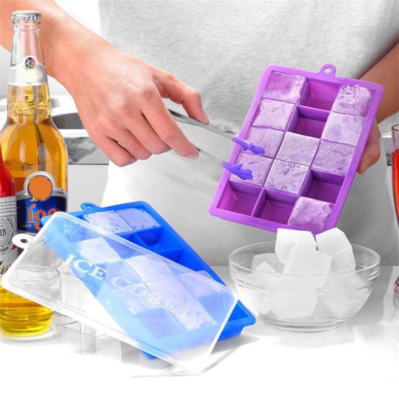 15 Slot Silicone Freeze Ice Cube Mold DIY Pudding Jelly Maker Mould Soft Bendable Ice Cubes Tray Molds with Cover drop