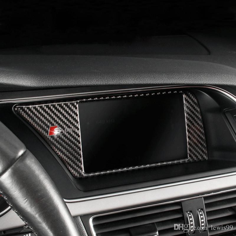 탄소 섬유 자동차 내부 콘솔 GPS 네비게이션 NBT 화면 프레임 커버 트림 아우디 A4 B8 A5 09-16 자동차 스타일링을위한 자동차 액세서리