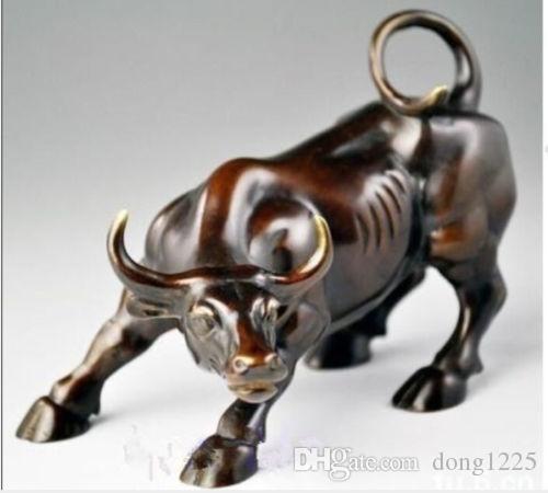 Big Wall Street Bronze Statue féroce Bull OX 13 cm * / 5.12 pouces Livraison gratuite