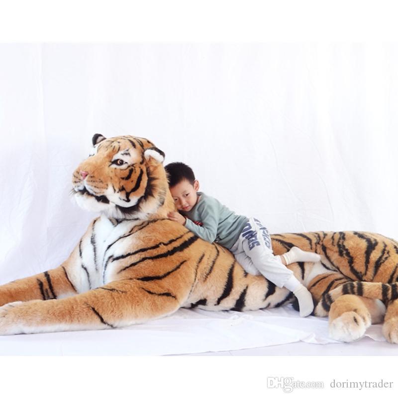 Dorimytrader Simulation Dominierender Tier Tiger Plüsch Spielzeug Jumbo Erstaunliche realistische Tiger Sammlung Fotografie Requisiten Home Deco 87inch