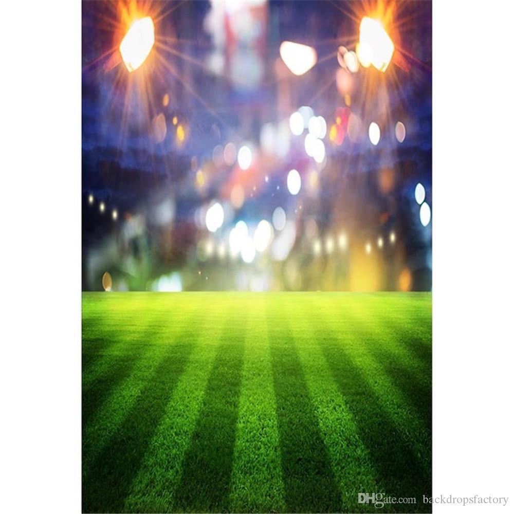 Bokeh Spotlight Green Football Field Photography Backdrops Stadium Sports Match Boy Kids Party Themed Photo Booth Background
