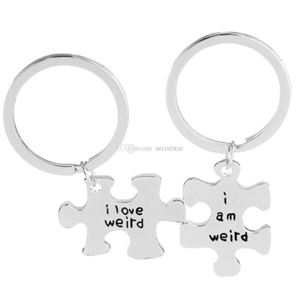 "Letter "" i love weird i am weird ""Puzzle alloy keychain Key Rings"